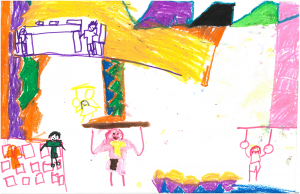 Through Doorways, Justine's young daughter Anna was finally able to take gymnastics classes. Although she'd dreamed of doing gymnastics for years, she was unable to participate before coming to Doorways. She drew this picture of her dreams coming true.